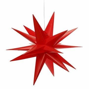3D Leuchtstern inkl. warm-weißer LED Beleuchtung | für Innen und Außen geeignet | hängend | 7,5 m Zuleitung | ca. 57x44x48 cm (Rot) - 8