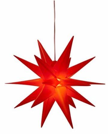 3D Leuchtstern inkl. warm-weißer LED Beleuchtung | für Innen und Außen geeignet | hängend | 7,5 m Zuleitung | ca. 57x44x48 cm (Rot) - 9