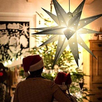 3D Weihnachtsstern Außen Batterie Timer - LED Adventsstern Stern, Fenster Stern Deko, Partys Oder Weihnachten Dekoration, Für Innenhof, Balkon Und Garten(58cm) - Qijieda-Weiß - 2