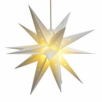 3D Weihnachtsstern Außen Batterie Timer - LED Adventsstern Stern, Fenster Stern Deko, Partys Oder Weihnachten Dekoration, Für Innenhof, Balkon Und Garten(58cm) - Qijieda-Weiß - 1