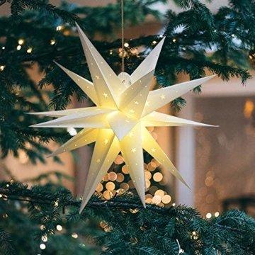3D Weihnachtsstern Außen Batterie Timer - LED Adventsstern Stern, Fenster Stern Deko, Partys Oder Weihnachten Dekoration, Für Innenhof, Balkon Und Garten(58cm) - Qijieda-Weiß - 5