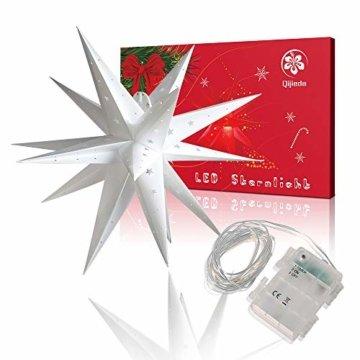 3D Weihnachtsstern Außen Batterie Timer - LED Adventsstern Stern, Fenster Stern Deko, Partys Oder Weihnachten Dekoration, Für Innenhof, Balkon Und Garten(58cm) - Qijieda-Weiß - 7