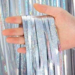 4 Stück Lametta Vorhänge Dekoration, Comius Sharp 1 x 2.5 m Glitzervorhang Tinsel Vorhänge Folie Fringe Shimmer Vorhang für Party, Hochzeitsdeko, Geburtstags Silvester Weihnachten Deko (Silber) - 1