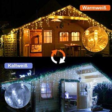 440 LED Lichterkette Eisregen ECOWHO Warmweiß Kaltweiß Lichtervorhang 12x0,8m erweiterbar Eiszapfen Regenlichterkette mit Timer,IP44 Lichterkette außen Innen für Dach Balkon Weihnachten Party Hochzeit - 2