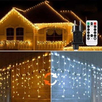 440 LED Lichterkette Eisregen ECOWHO Warmweiß Kaltweiß Lichtervorhang 12x0,8m erweiterbar Eiszapfen Regenlichterkette mit Timer,IP44 Lichterkette außen Innen für Dach Balkon Weihnachten Party Hochzeit - 1
