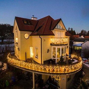 440 LED Lichterkette Eisregen ECOWHO Warmweiß Kaltweiß Lichtervorhang 12x0,8m erweiterbar Eiszapfen Regenlichterkette mit Timer,IP44 Lichterkette außen Innen für Dach Balkon Weihnachten Party Hochzeit - 7