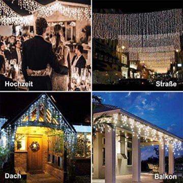 440 LED Lichterkette Eisregen ECOWHO Warmweiß Kaltweiß Lichtervorhang 12x0,8m erweiterbar Eiszapfen Regenlichterkette mit Timer,IP44 Lichterkette außen Innen für Dach Balkon Weihnachten Party Hochzeit - 8