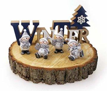 4x Deko Figur Schneemann im Set je 6 cm, Polystein mehrfarbig, Schneemänner Dekofiguren Geschenkanhänger Kranzdeko Winterdeko - 2