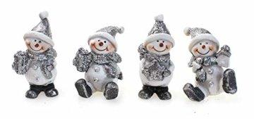 4x Deko Figur Schneemann im Set je 6 cm, Polystein mehrfarbig, Schneemänner Dekofiguren Geschenkanhänger Kranzdeko Winterdeko - 3