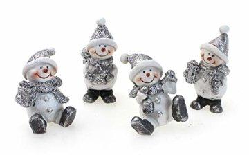 4x Deko Figur Schneemann im Set je 6 cm, Polystein mehrfarbig, Schneemänner Dekofiguren Geschenkanhänger Kranzdeko Winterdeko - 1