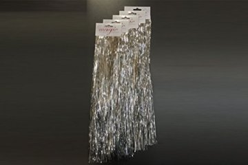 5 Stück Spar-Pack: Lametta Silberglanz Glatt 50cm - Baumschmuck Weihnachten Weihnachtsbaum Silber Glänzend Engelshaar - 3