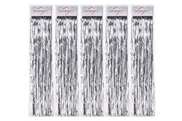 5 Stück Spar-Pack: Lametta Silberglanz Glatt 50cm - Baumschmuck Weihnachten Weihnachtsbaum Silber Glänzend Engelshaar - 1