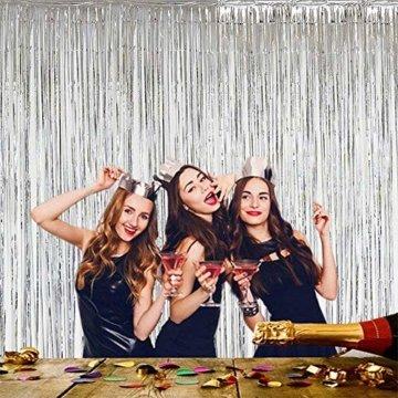 6 Stück Lametta Vorhänge, Folie Vorhang Silber, Glitzer Vorhängen Dekoration für Party Hochzeit Geburtstags Weihnachten Fotokabine Türvorhang Deko (1m x 2m) - 4