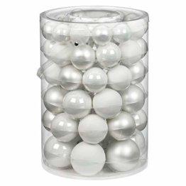 60 Christbaumkugeln Glas 4 5 6 7cm 60 St. Dose Dekokugeln Weihnachtskugeln Baumkugeln Baumschmuck Set Farbe: Just White-Mix weiß - 1