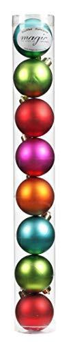 8 Christbaumkugeln 6cm ( Mille-Fiori - bunt ) Kunststoff bruchfest // Dekokugeln Weihnachtskugeln Baumkugeln Baumschmuck Set Inge-Glas Plastik PVC 60mm - 1