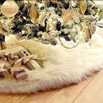 90cm Weihnachtsbaumdecke Weihnachtsdeko Weihnachtsbaum Rock Weiß Plüsch Weihnachtsbaum Decke Weihnachtsbaum Deko - 1