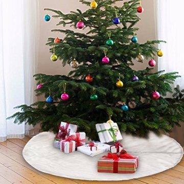 90cm Weihnachtsbaumdecke Weihnachtsdeko Weihnachtsbaum Rock Weiß Plüsch Weihnachtsbaum Decke Weihnachtsbaum Deko - 5