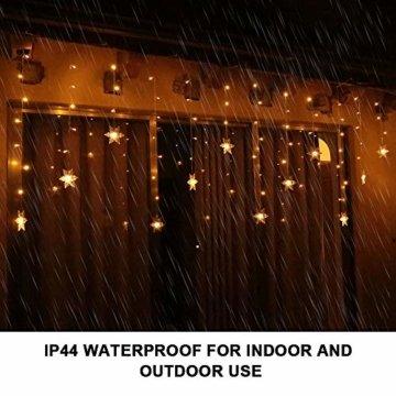 94 LED Schneeflocke Lichterketten, Lichtervorhang Lichter Weihnachtsbeleuchtung mit 8 Flimmer-Modi und Timer für Hochzeit, Weihnachten, Geburtstagsfeiern, DIY Haus Mantel Dekoration (Warmweiß) - 5