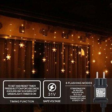94 LED Schneeflocke Lichterketten, Lichtervorhang Lichter Weihnachtsbeleuchtung mit 8 Flimmer-Modi und Timer für Hochzeit, Weihnachten, Geburtstagsfeiern, DIY Haus Mantel Dekoration (Warmweiß) - 6
