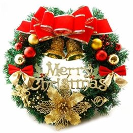 AcserGery Weihnachtskranz mit Kugel, Schleife, Weihnachten Dekor - 1