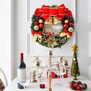 AcserGery Weihnachtskranz mit Kugel, Schleife, Weihnachten Dekor - 3