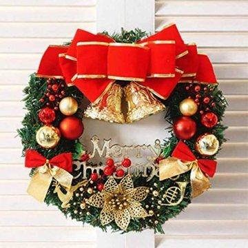 AcserGery Weihnachtskranz mit Kugel, Schleife, Weihnachten Dekor - 4