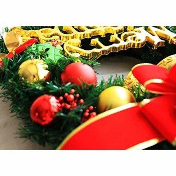 AcserGery Weihnachtskranz mit Kugel, Schleife, Weihnachten Dekor - 5
