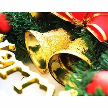 AcserGery Weihnachtskranz mit Kugel, Schleife, Weihnachten Dekor - 6