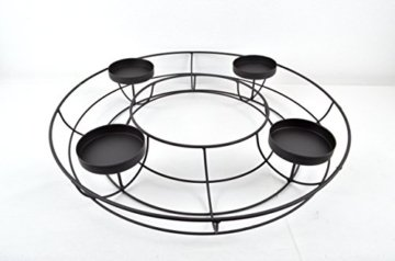 Adventskranz ø 43 cm aus Metall in elegantem Schwarz zum individuellen Dekorieren - 4