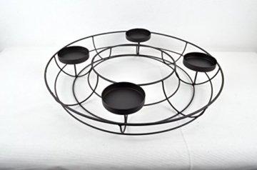 Adventskranz ø 43 cm aus Metall in elegantem Schwarz zum individuellen Dekorieren - 5