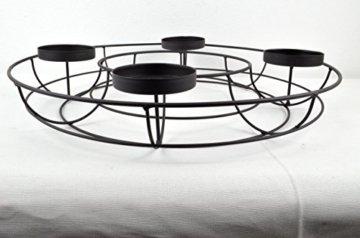 Adventskranz ø 43 cm aus Metall in elegantem Schwarz zum individuellen Dekorieren - 6