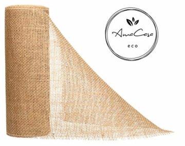 AmaCasa Eco Tischläufer Jute 30cm breit, 10m Rolle | gestärkter Jutestreifen mit kompostierbarem Etikett | Tischband für wundervolle Dekorationen (Natur - Braun, 30cm/10m) - 2