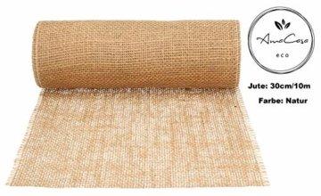 AmaCasa Eco Tischläufer Jute 30cm breit, 10m Rolle | gestärkter Jutestreifen mit kompostierbarem Etikett | Tischband für wundervolle Dekorationen (Natur - Braun, 30cm/10m) - 3