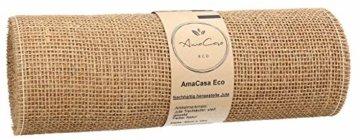 AmaCasa Eco Tischläufer Jute 30cm breit, 10m Rolle | gestärkter Jutestreifen mit kompostierbarem Etikett | Tischband für wundervolle Dekorationen (Natur - Braun, 30cm/10m) - 4