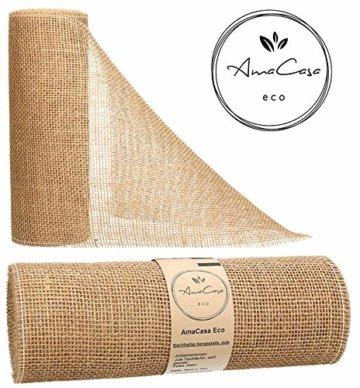 AmaCasa Eco Tischläufer Jute 30cm breit, 10m Rolle | gestärkter Jutestreifen mit kompostierbarem Etikett | Tischband für wundervolle Dekorationen (Natur - Braun, 30cm/10m) - 1