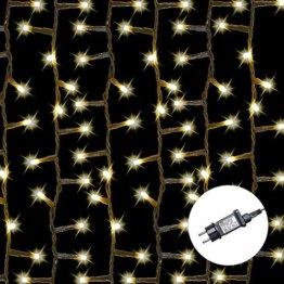 AMARE Baumlichterkette 400 LED warmweiß 5 Stränge mit Gesamtlänge 7,5m (zzgl. 3,25 m Zuleitung), CE + GS geprüft, für den Innen- und Außenbereich, 8 Leuchtmodi/Timer - 1
