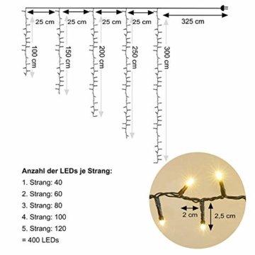 AMARE Baumlichterkette 400 LED warmweiß 5 Stränge mit Gesamtlänge 7,5m (zzgl. 3,25 m Zuleitung), CE + GS geprüft, für den Innen- und Außenbereich, 8 Leuchtmodi/Timer - 4