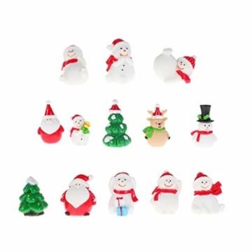 Amosfun 13 stücke Weihnachten Miniatur Ornamente Desktop Handwerk Micro Landschaft Harz Weihnachten X'Mas Decor kleine Ornamente schneemann weihnachtsmann Weihnachtsbaum(zufällig) - 1