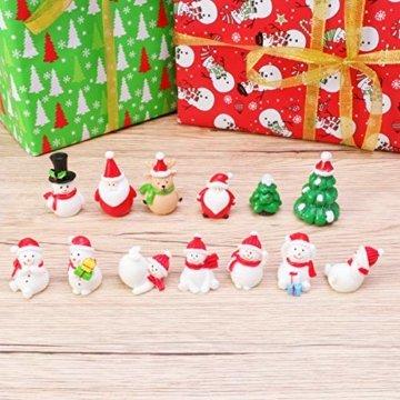 Amosfun 13 stücke Weihnachten Miniatur Ornamente Desktop Handwerk Micro Landschaft Harz Weihnachten X'Mas Decor kleine Ornamente schneemann weihnachtsmann Weihnachtsbaum(zufällig) - 5
