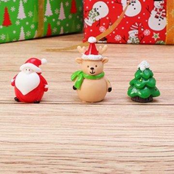Amosfun 13 stücke Weihnachten Miniatur Ornamente Desktop Handwerk Micro Landschaft Harz Weihnachten X'Mas Decor kleine Ornamente schneemann weihnachtsmann Weihnachtsbaum(zufällig) - 6