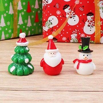Amosfun 13 stücke Weihnachten Miniatur Ornamente Desktop Handwerk Micro Landschaft Harz Weihnachten X'Mas Decor kleine Ornamente schneemann weihnachtsmann Weihnachtsbaum(zufällig) - 8