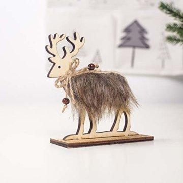 Amosfun 2 Stücke Holz Rentier Figur Elch Hirsch Figur Statue Weihnachten Dekofigur Tierfigur Weihnachtsfigur Xmas Deko Büro Tischdeko Weihnachtsdeko Weihnachtsschmuck - 3