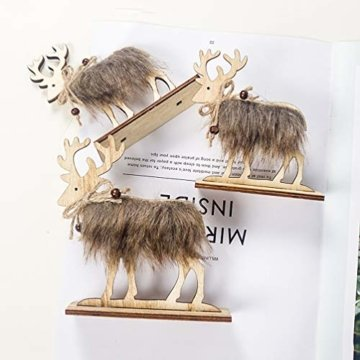 Amosfun 2 Stücke Holz Rentier Figur Elch Hirsch Figur Statue Weihnachten Dekofigur Tierfigur Weihnachtsfigur Xmas Deko Büro Tischdeko Weihnachtsdeko Weihnachtsschmuck - 4