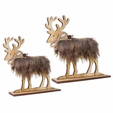 Amosfun 2 Stücke Holz Rentier Figur Elch Hirsch Figur Statue Weihnachten Dekofigur Tierfigur Weihnachtsfigur Xmas Deko Büro Tischdeko Weihnachtsdeko Weihnachtsschmuck - 1