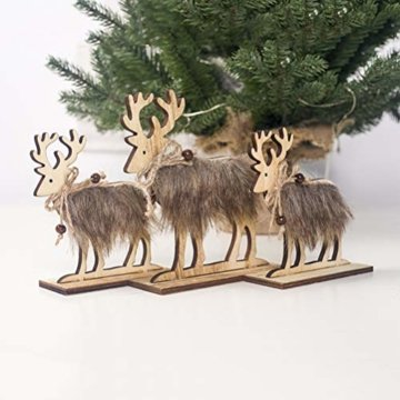 Amosfun 2 Stücke Holz Rentier Figur Elch Hirsch Figur Statue Weihnachten Dekofigur Tierfigur Weihnachtsfigur Xmas Deko Büro Tischdeko Weihnachtsdeko Weihnachtsschmuck - 5