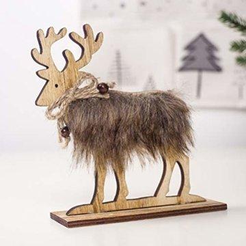 Amosfun 2 Stücke Holz Rentier Figur Elch Hirsch Figur Statue Weihnachten Dekofigur Tierfigur Weihnachtsfigur Xmas Deko Büro Tischdeko Weihnachtsdeko Weihnachtsschmuck - 6