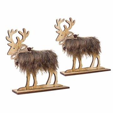 Amosfun 2 Stücke Holz Rentier Figur Elch Hirsch Figur Statue Weihnachten Dekofigur Tierfigur Weihnachtsfigur Xmas Deko Büro Tischdeko Weihnachtsdeko Weihnachtsschmuck - 7