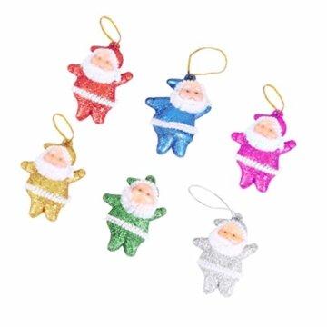 Amosfun 48 stücke Glitter Mini Santa Ornamente Weihnachten hängen anhänger Charme für Tasche schlüssel Telefon weihnachtsbeutelfüller Partei liefert - 2