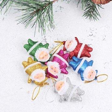 Amosfun 48 stücke Glitter Mini Santa Ornamente Weihnachten hängen anhänger Charme für Tasche schlüssel Telefon weihnachtsbeutelfüller Partei liefert - 3