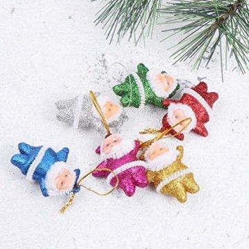 Amosfun 48 stücke Glitter Mini Santa Ornamente Weihnachten hängen anhänger Charme für Tasche schlüssel Telefon weihnachtsbeutelfüller Partei liefert - 4